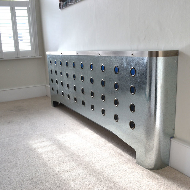 Modern metallic radiator cover makeover in Maida Vale Home industrial