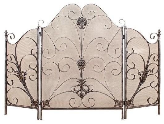Silver Fireplace Doors : Elegant silver fire screen mediterranean fireplace