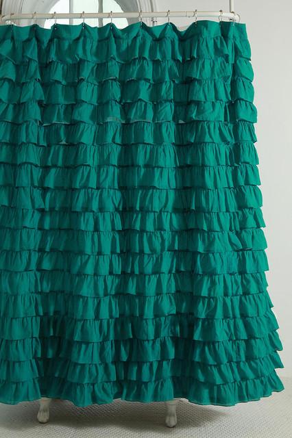 Waterfall Ruffle Shower Curtain Turquoise