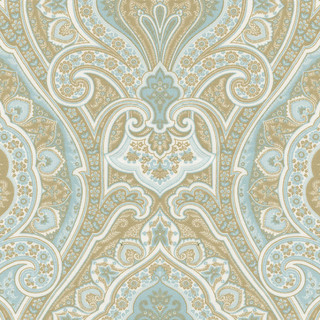 Blue And Taupe Paisley Fabric Traditional Fabric