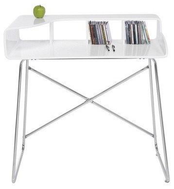 Petit bureau studio laqu blanc brillant pieds chrom s for Petit bureau contemporain