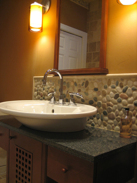 Island stone pebble bathroom design modern tile for Bathroom design questions