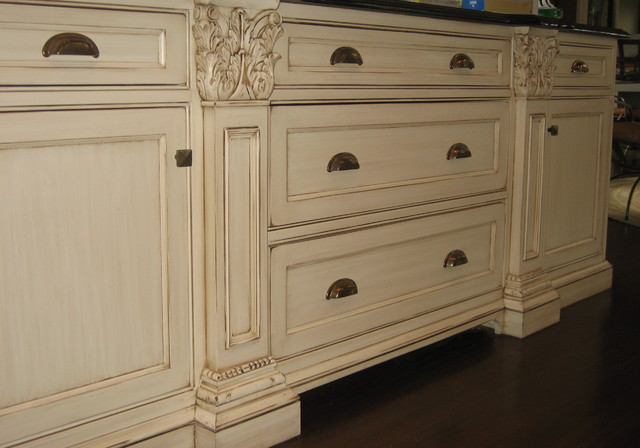 Hand Painted And Distressed Kitchen Cabinetry