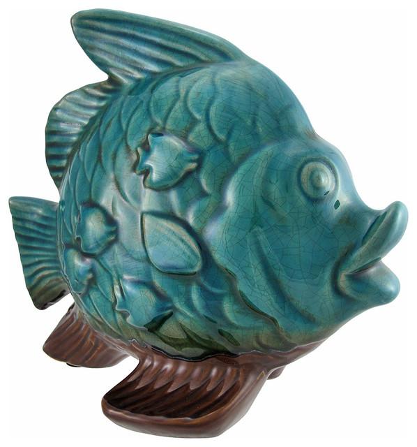 Ocean blue ceramic fish sculpture beach decor beach for Ceramic fish sculpture