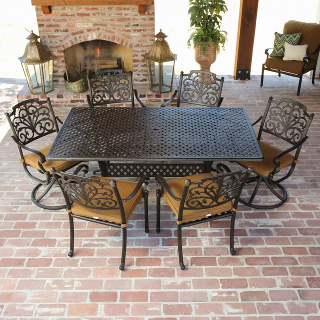 Contemporary Outdoor Dining Sets: Evangeline 6-Person Cast Aluminum Patio Dining Set