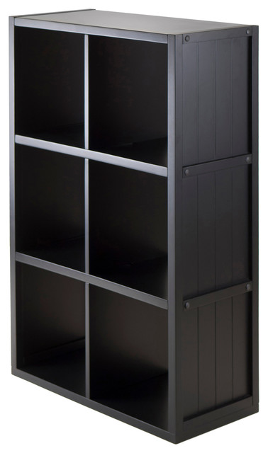 Shelf 3x2 Cube With Wainscoting Panel Transitional Bookcases