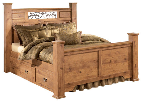 Bittersweet Queen Poster Bed With Underbed Storage Pine Grain Traditional Beds By Bedroom