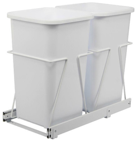 double 27 qt white trash bins with pull out steel cages modern trash cans by the home depot. Black Bedroom Furniture Sets. Home Design Ideas