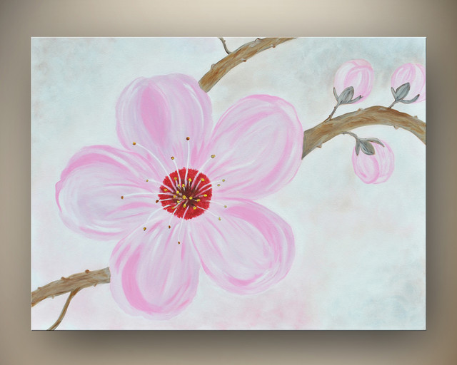 Large cherry blossom painting on canvas 30 x 40 original for Cherry blossom canvas painting