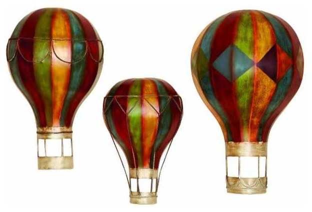 Dream Ride Trio Of Hot Air Balloons Metal Wall Hanging Eclectic Artwork By Metal