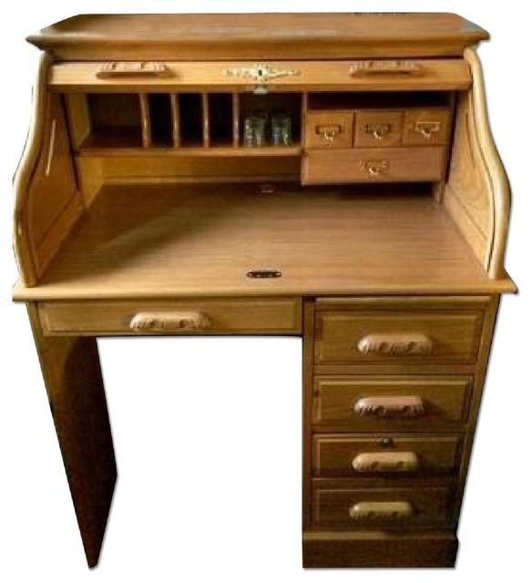 ethan allen antique pine roll top desk 2