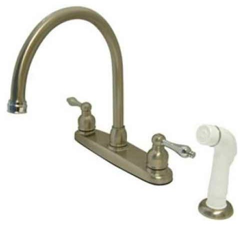 double handle kitchen faucet in dual tone finish faucets traditional kitchen faucets by builper com
