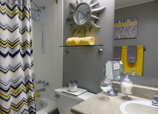 grey and yellow bathroom contemporary bathroom