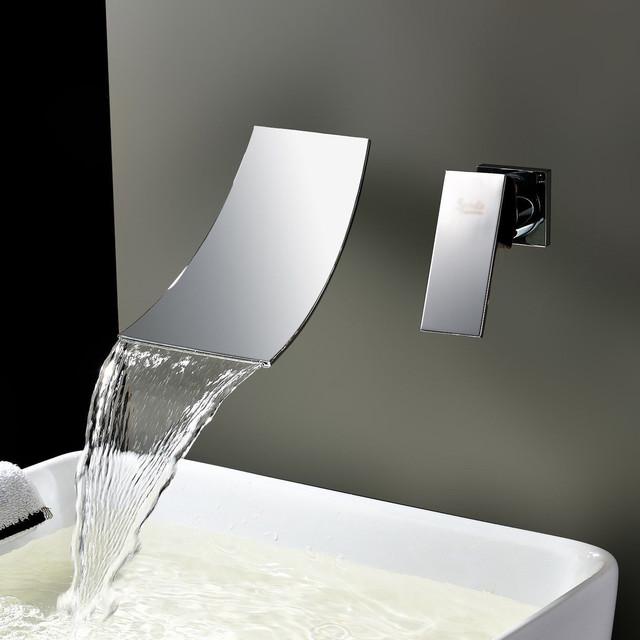 Kokols Chrome Wall Mount Waterfall Tub Faucet Contemporary Bathtub Taps By