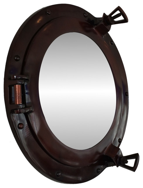 Deluxe class porthole mirror antique copper 12 39 39 beach for Porthole style mirror