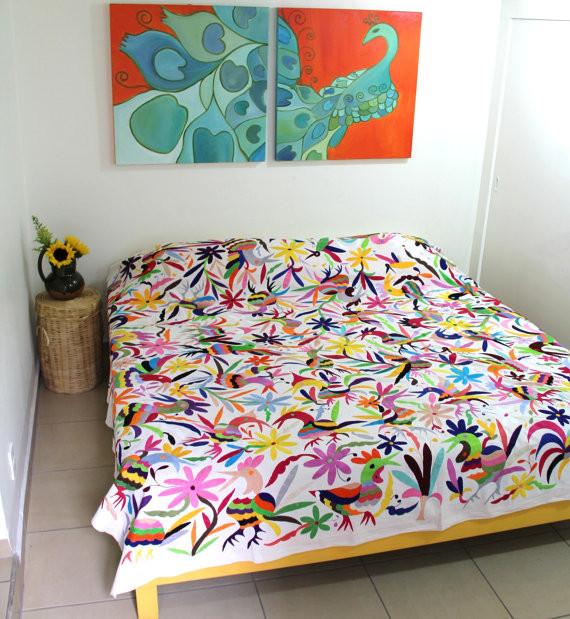 Eclectic Bedroom Design King Bedroom Sets Modern Bedroom Furniture Plans Bedroom Cupboards For Sale: King-Size Birds Multicolored Otomi Piece By Casa Otomi