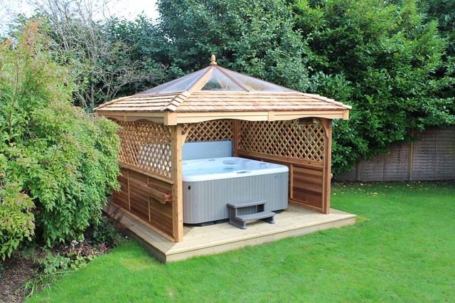 Hot tub gazebos for Hot tub shelter plans