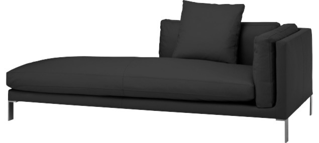 newman m ridienne accoudoir gauche en cuir moderne chaise longue et m ridienne par habitat. Black Bedroom Furniture Sets. Home Design Ideas