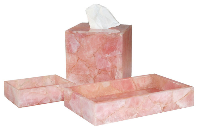 rose quartz tissue box cover contemporary bathroom accessories
