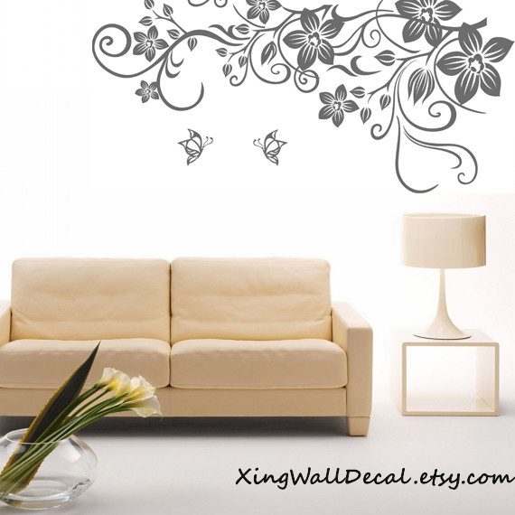floral wall decal vinyl wall decal wall decor wall art eclectic
