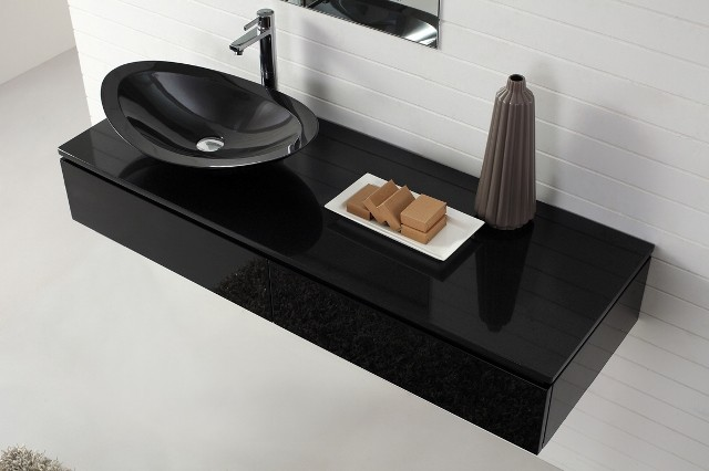 Nero Wall Hung Black Vanity With Stone Top Basin