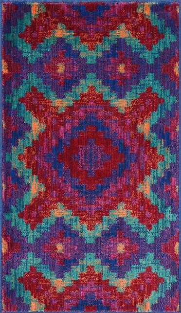 Loloi isabelle red teal area rug contemporary area for Red area rugs contemporary