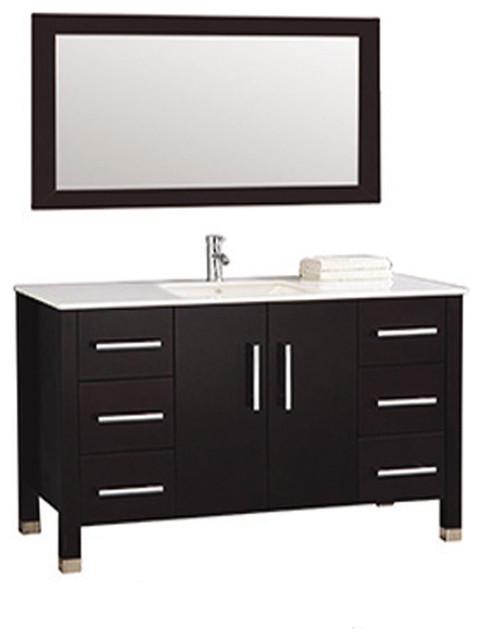 Monaco  Single Sink Bathroom Vanity Set Espresso Contemporary