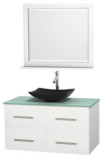 Centra 42 matte white sgl vanity green glass top arista - Muebles de lavabo ...