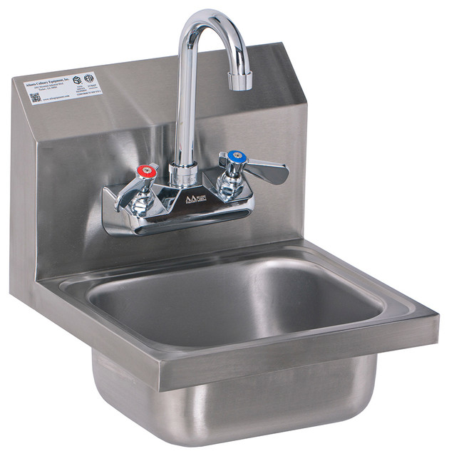 12 X12 Mini Stainless Steel Wall Mount Hand Sink With Lead Free Faucet Industrial Bathroom