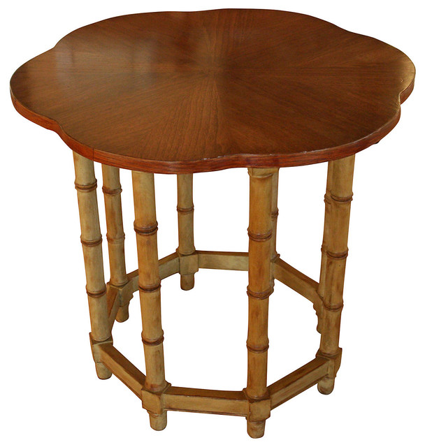 Scalloped Faux-Bamboo Table