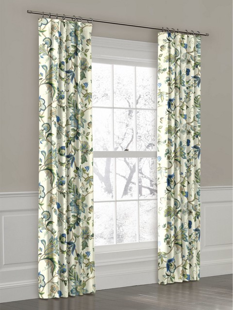 White green and blue floral ring top drapery panel for Curtains and drapes nyc