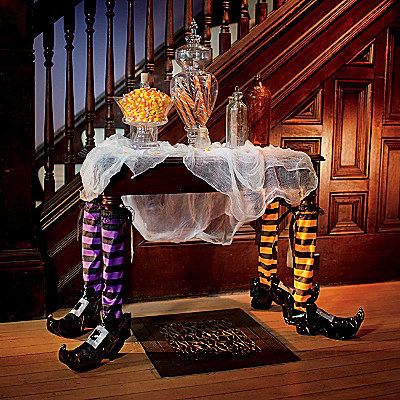 Pair of halloween witch table legs eclectic holiday - Decoracion halloween 2017 ...