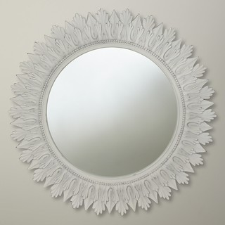 Round Mirror White Contemporary Wall Mirrors By