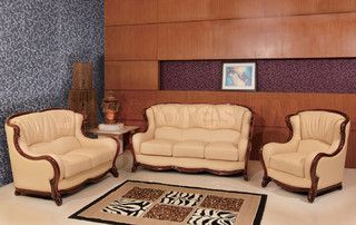appealing traditional leather living room set | Classic Genuine Italian Leather 3 PC Living Room Set ...