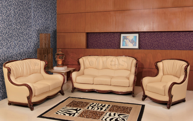 Italian Furniture Stores: Classic Genuine Italian Leather 3 PC Living Room Set