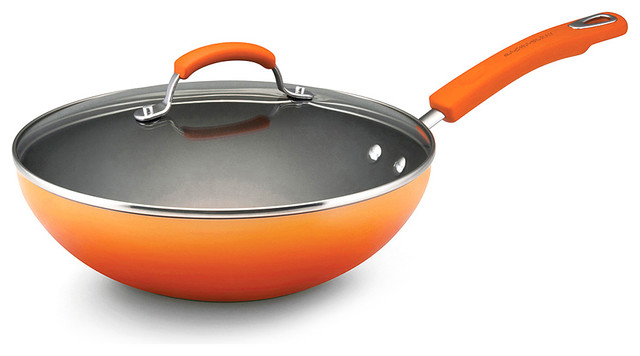 Orange 11 Stir Fry Pan Amp Lid Contemporary Woks And