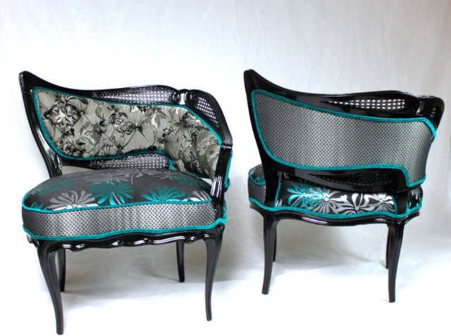 French Leaf Cane Chairs In Black Silver And Turquoise