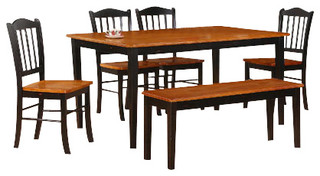 shaker 6 piece dining set in black oak farmhouse dining sets