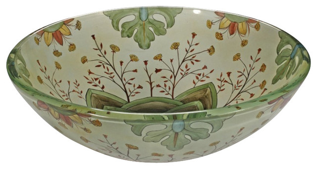 Floral Bathroom Sinks : Floral Spring Round Vessel Sink - Contemporary - Bathroom Sinks - by ...