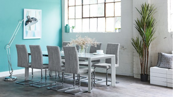 Modena 9 piece extension dining suite contemporary for Kitchen set modena