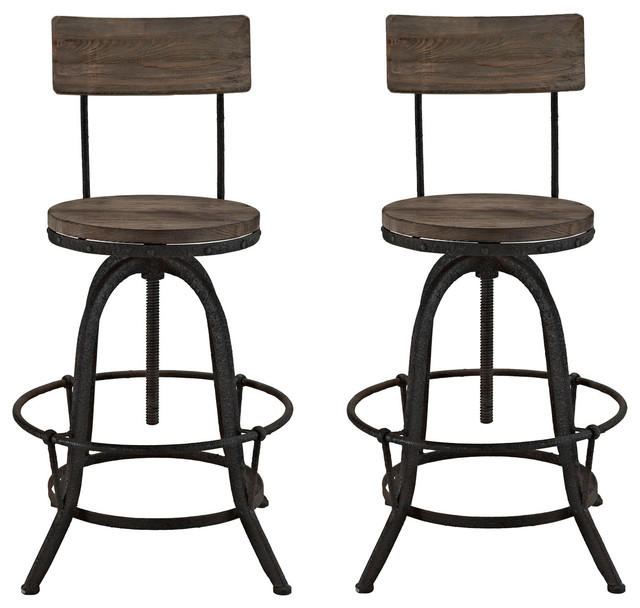 Procure Dining Stools Set Of 2 Brown Industrial Bar