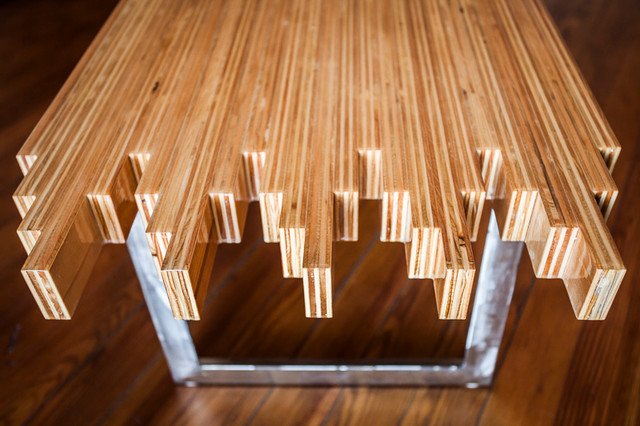 Plywood Strip Table Eclectic Side Tables And End