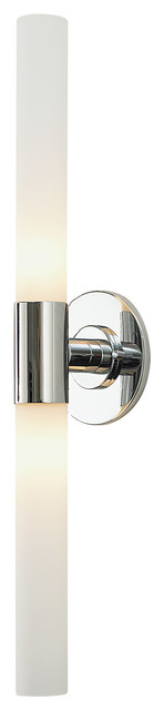 Long Bathroom Vanity Lights : Long Cylinder 2 Light Vanity, Chrome And White Opal Glass - Modern - Bathroom Wall Lights - by ...