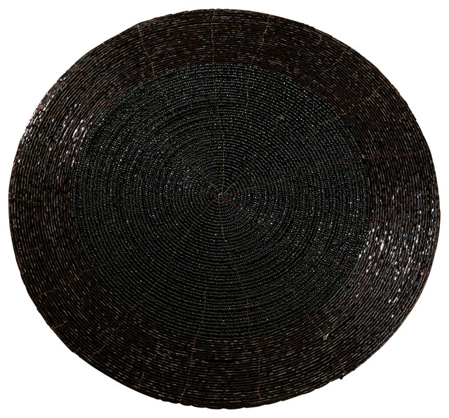 13 glass beaded placemat black placemats by st croix for Glass table placemats