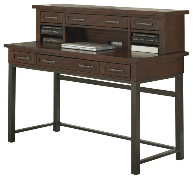 Home Styles Cabin Creek Executive Desk and Hutch in Chestnut Finish ...
