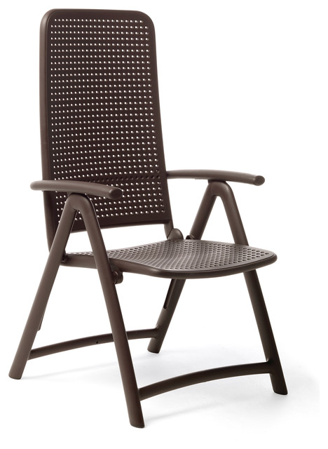 Darsena High Back Folding Chairs Set of 2 Brown Modern Outdoor Folding