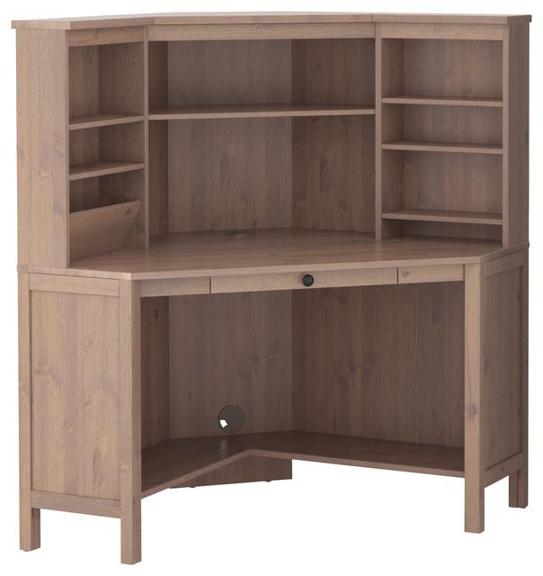 Hemnes corner work station gray brown traditional for Ikea hemnes grau