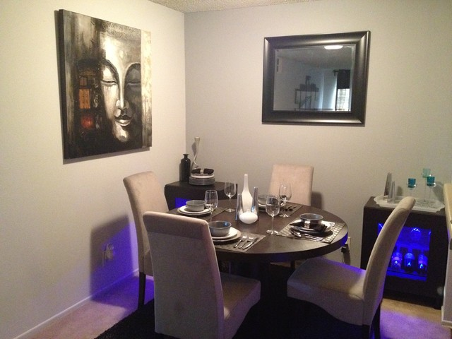 Small apartment contemporary dining room los angeles for Small modern dining room