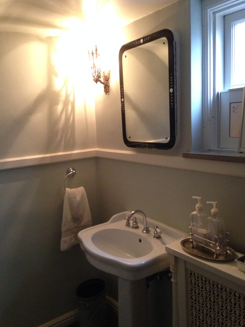 Tiny powder room - update mirror/lighting