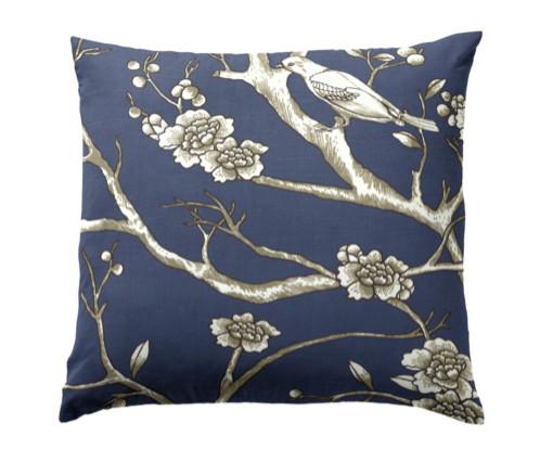Bird & Branch Navy Throw Pillow - Contemporary - Decorative Pillows - new york - by Loom Decor